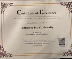 NEA-AE Outstanding Local Excellence Certificate